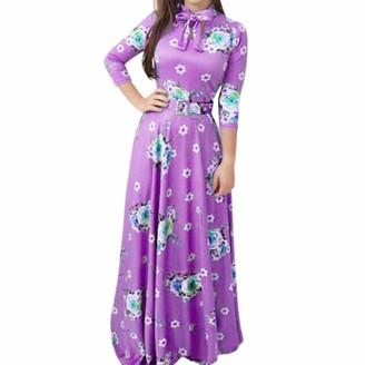 Moginp Dress Moginp Fashion Women Plus Size Dress Print Tie Long Sleeve Party Long Maxi Cocktail Dresses for Ladies (Purple 2XL)
