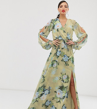 Asos Tall DESIGN Tall smock maxi dress in occasion bloom print-Multi