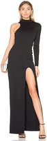 Donna Mizani One Sleeve Mock Neck Maxi Dress in Black. - size M (also in )