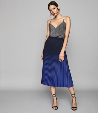 Reiss Marlie - Ombre Pleated Midi Skirt in Cobalt