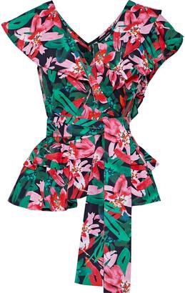 Marissa Webb Maisie Ruffled Floral-print Cotton-poplin Blouse