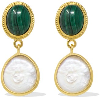 Vintouch Italy Gold-Plated Malachite & Pearl Earrings
