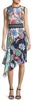Peter Pilotto Asymmetric Mixed Floral-Print Dress