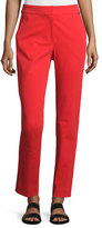 St. John Fine Stretch Twill Slim Cropped Pants, Red