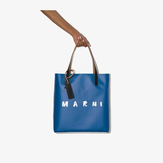 Marni blue logo print PVC tote bag