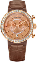Swarovski Women's Swiss Chronograph Citra Sphere Brown Leather Strap Watch 38mm 5183367