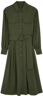 Palones Army green belted shirt dress