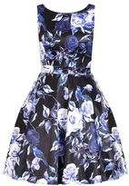 Quiz Black Satin High Neck Floral Dress