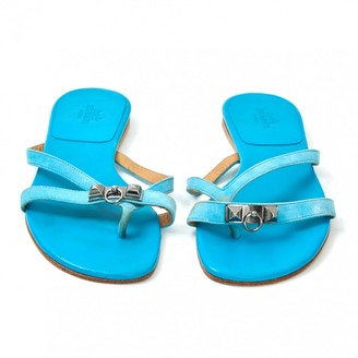Hermes Corfou Turquoise Suede Sandals