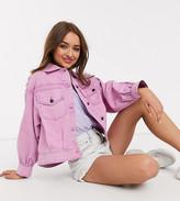 Asos DESIGN Petite oversized acid washed jacket in pink
