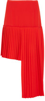 Stella McCartney Arianna Asymmetric Pleated Wool-crepe Skirt - Tomato red