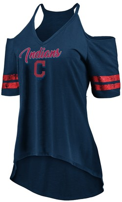 Majestic Women's Navy Cleveland Indians Deep V-Neck Cold Shoulder T-Shirt