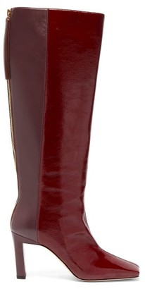 Wandler Isa Two-tone Square-toe Leather Boots - Womens - Burgundy