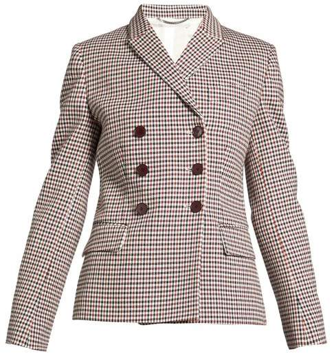 Stella McCartney Olivia Double Breasted Checked Blazer - Womens - Burgundy Multi