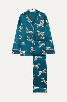 Olivia von Halle Lila Printed Silk-satin Pajama Set - Azure