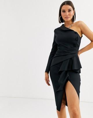 Asos Design DESIGN one shoulder tux midi dress with pep detail