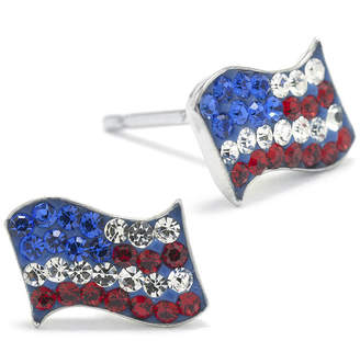 SILVER TREASURES Crystal Sterling Silver American Flag Earrings