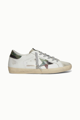 Golden Goose Superstar Distressed Printed Leather And Suede Sneakers - White
