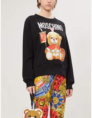 Moschino Bear-print round-neck cotton-jersey sweatshirt