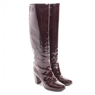Chanel Brown Patent leather Boots
