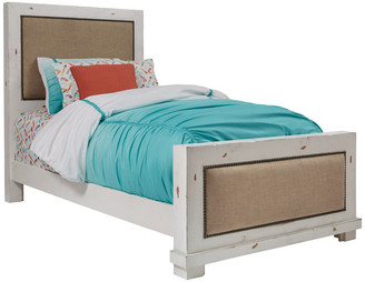 Progressive Furniture Twin Upholstered Bed in White and Distressed White