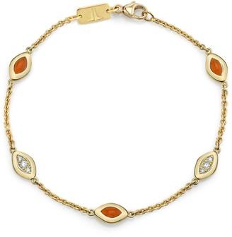 Andy Lif Orange Enamel and Diamond Cats Eye Bracelet