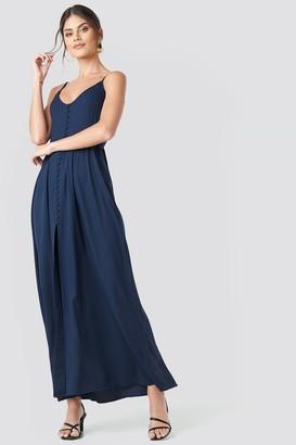 NA-KD Button Up V-Neck Dress