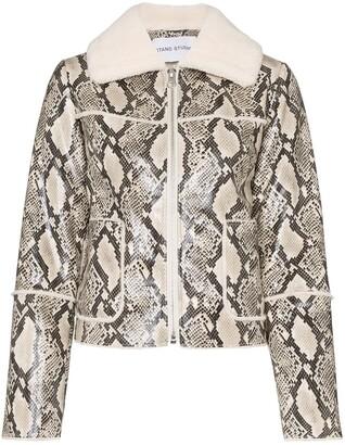 Stand Studio Maj snake-print faux shearling jacket