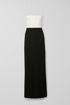 Galvan Two-tone Crepe Gown - Black