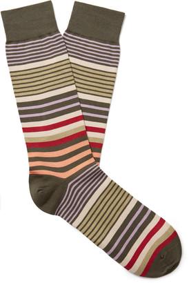Pantherella Miyako Striped Sea Island Cotton-Blend Socks