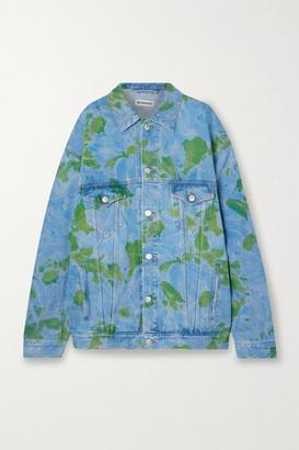 Balenciaga Oversized Floral-print Denim Jacket - Blue