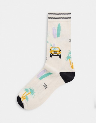 ASOS DESIGN ankle socks with safari jeep design