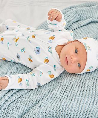 JoJo Maman Bebe Boys' Infant Sleeping Sacks White - White Safari Footie - Newborn & Infant