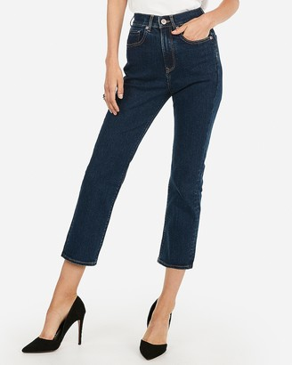 Express Super High Waisted Dark Wash Straight Cropped Jeans