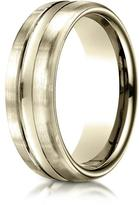 Ice 18K Yellow Gold 7.5mm Comfort-Fit Center Cut Carved Design Band Ring