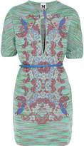 M Missoni Belted knitted cotton-blend mini dress