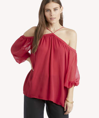 1 STATE Women's Long Sleeve High Neck Blouse With Chiffon Sleeves In Color: Red Size Small From Sole Society