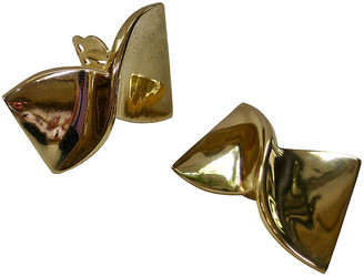 One Kings Lane Vintage Givenchy Gold Bow Earrings - Wisteria Antiques Etc
