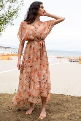Aimelia Peach chiffon maxi dress