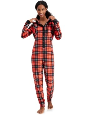 Jenni Hooded Velour One Piece Unionsuit Pajamas, Created for Macy's
