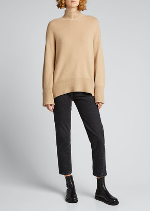 Frame High-Low Cashmere-Wool Turtleneck Sweater