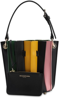 Sara Battaglia MINI PLEATED LEATHER BUCKET BAG