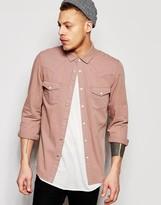 Asos Regular Fit Western Denim Shirt In Dusty Pink