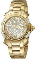 Roberto Cavalli Womens Gold Watch With Two-tone Silver/full Stones Dial.
