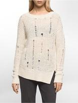 Calvin Klein Asymmetrical Ladder Stitch Pullover