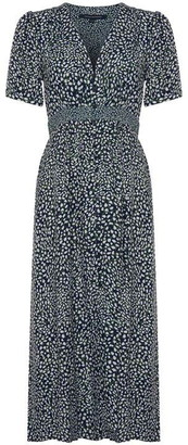 French Connection Cade Drape Buttoned Front Printed Dress