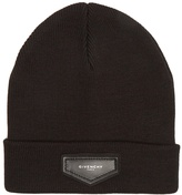 Givenchy Logo-patch wool-blend beanie hat