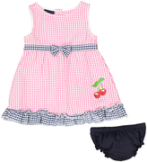 Sweet & Soft Pink Cherries Seersucker A-Line Dress & Diaper Cover - Infant