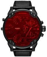 Diesel R) Crystal Mr. Daddy 2.0 Chronograph Leather Strap Watch, 57mm x 66mm