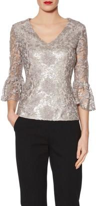 Gina Bacconi Mia Sequin Embroidery V Neck Metallic Top, Taupe